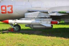 Prowadzący pociska ` powierzchni ` X-25 blok NAR B-8 w siły powietrzne muzeum w Monino i blok robi Moscow regionu Russia znaka my obraz stock