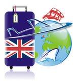 Prowadząca wycieczka turysyczna Anglia logo w wektorze Zdjęcia Royalty Free