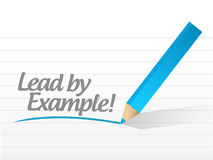 Prowadzenie przykładem pisać na białym kawałku papieru Zdjęcia Stock