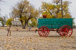 Prowers House and Wagon at Boggsville Santa Fe Trail Royalty Free Stock Photography