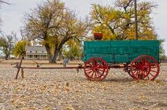 Prowers hus och vagn på Boggsville Santa Fe Trail Royaltyfri Fotografi