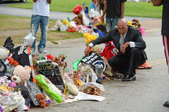 Prowizoryczny pomnik Dokąd Michael Brown był strzałem Zdjęcie Stock