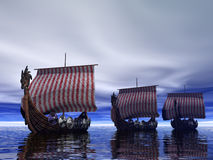 On The Prowl. Viking Ships searching Stock Images