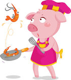 Prowns. Illustration of lady pig making prowns fry Stock Image