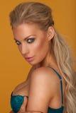 Prowokująca blond młoda kobieta jest ubranym błękitnego stanika Fotografia Royalty Free