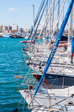 Prows of sailing boats. Several prows of sailing boats at the harbor of Catania Stock Photos