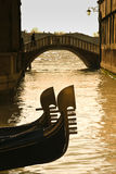 Prows of two gondolas in Venice Stock Photo