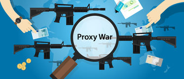 Proxy war arms conflict world international dispute money business hands control Stock Photography