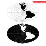 Proyección de mapa del mundo oval Imágenes de archivo libres de regalías