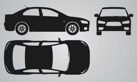 Proyección del frente, superior y lateral del coche Fotografía de archivo