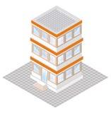 proyección isométrica de un edificio three-storey Fotografía de archivo libre de regalías