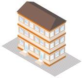 Proyección isométrica de un edificio three-storey Imagen de archivo libre de regalías