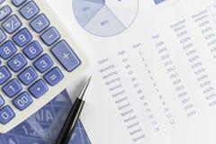 Proyecciones del retiro según la inflación de vuelta y anual con la pluma y la calculadora Imagen de archivo libre de regalías