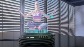 Proyectan a un bailarín del holo con un proyector del holo libre illustration