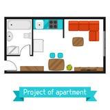 Proyecto arquitectónico del apartamento con muebles La imagen para las banderas, sitios web, diseña ilustración del vector