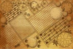 Proyecto arquitectónico del paisaje sobre fondo del vintage libre illustration