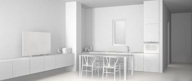 Proyecto blanco total de la cocina blanca minimalista con el piso de la mesa de comedor y de entarimado, del fregadero y de la es ilustración del vector