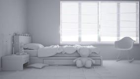 Proyecto blanco total del dormitorio moderno del niño con la sola cama, los juguetes y la ventana panorámica, interior contemporá fotos de archivo