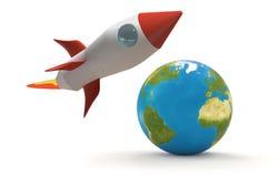 Proyecto 3d-illustration de Rocket Imagenes de archivo