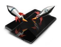 Proyecto 3d-illustration de Rockets y de los teléfonos móviles Fotografía de archivo