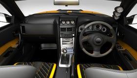 Proyecto de adaptación exclusivo para el interior de un coche de deportes Diseño interior con la disposición de los elementos pri ilustración del vector