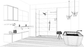 Proyecto de diseño interior, bosquejo blanco y negro de la tinta, modelo de la arquitectura que muestra el cuarto de baño moderno libre illustration
