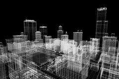 Proyecto de edificios de la ciudad, impresión del wireframe 3d, plan urbano Configuración Fotos de archivo