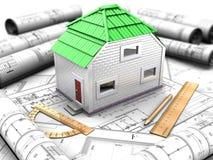Proyecto de la casa con el modelo, tejado verde Imagenes de archivo