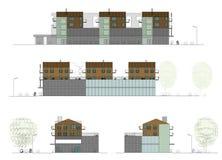 Proyecto de la casa viva con un departamento libre illustration