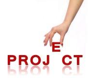 Proyecto de la mano y de la palabra Fotografía de archivo libre de regalías