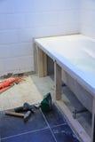 Proyecto de la renovación del cuarto de baño Imagen de archivo libre de regalías