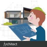 Proyecto de trabajo del arquitecto Fotos de archivo libres de regalías