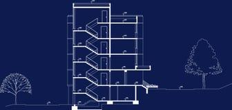 Proyecto del plan de la sección del edificio del asunto Imagenes de archivo