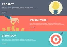 Proyecto, inversión, banderas de la estrategia Fotografía de archivo
