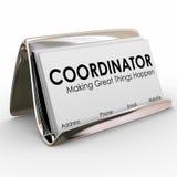 Proyecto Job Manager Director Su del tenedor de la tarjeta de visita del coordinador Imágenes de archivo libres de regalías