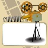 Proyector de película y marco en blanco Fotos de archivo