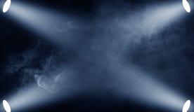 Proyector del proyector en el piso Etapa azul del funcionamiento de Beautfiul Aislado en las capas negras del fondo stock de ilustración
