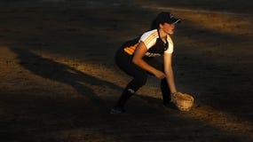Proyector del sol del jugador de la mujer del softball de los juegos de Canadá Foto de archivo
