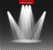 Proyector del vector Efecto luminoso Iluminación de la escena, efectos transparentes sobre un fondo de la oscuridad de la tela es Fotos de archivo