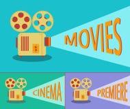 Proyector retro del cine Vector Imagen de archivo