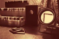Proyector y diapositivas de diapositiva Imagenes de archivo