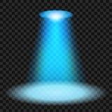 Proyectores azules que brillan en fondo transparente Foto de archivo