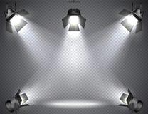 Proyectores con las luces brillantes en fondo transparente Imagenes de archivo