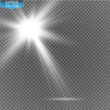 Proyectores del vector escena Efectos luminosos Efecto luminoso de la luz del sol del vector de la llamarada especial transparent Imagen de archivo