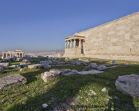 Proylaea of Athens acropolis and erechtheion ancient temple Royalty Free Stock Photo