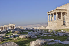 Proylaea of Athens acropolis and erechtheion ancient temple Royalty Free Stock Images