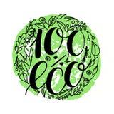 100 Prozent eco Lebensmittel-Menüikonen Übergeben Sie den Brief die Zusammensetzung auf Grün geschrieben lokalisiert auf Weiß Auc vektor abbildung