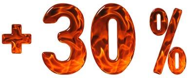 Prozent fördert, plus 30, dreißig Prozent, die Ziffern, die an lokalisiert werden Lizenzfreies Stockfoto