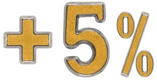 Prozent fördert, plus 5 fünf Prozent, die Ziffern, die auf Whit lokalisiert werden Stockfotos
