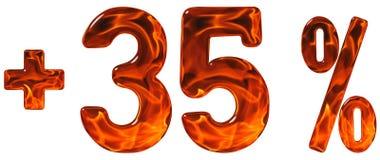 Prozent fördert, plus 35, fünfunddreißig Prozent, Ziffernisolat Lizenzfreie Stockbilder